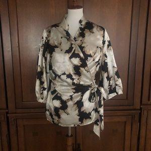 Lane Bryant Black White Floral Wrap Blouse 14/16